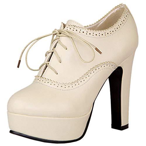 Lydee Damen Mode Pumps Low Top Booties High Absatz Pumps Shoes Platform Oxford Shoes Party Absatz Beige Gr 35