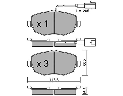 metelligroup 22-0528-1 Pastiglie Freno anteriori, Made in Italy, Pezzo di Ricambio per Auto   Automobile, Kit da 4 Pezzi, Certificate ECE R90, Prive di Rame