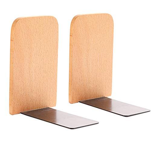 XQK 2Pcs Holz Buchstützen, natürliches Buchenholz Handgefertigte Bücherständer Dokumente Lagerung endet Regalhalter für Home Office Library Schuldekoration (Beech)