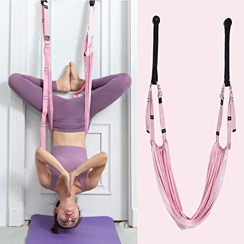 Huntvp Waist Stretch Strap with Door Anchor,Adjustable Yoga Exercise Strap Fitness Band Leg Stretching Strap Back Bend Split Inversion Strap for Ballet,Yoga,Fitness, Dance (Pink)