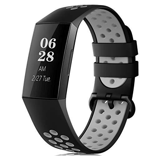 RIOROO Correa Compatible para Fitbit Charge 3 Pulsera/Charge 4 Correa para Hombres Mujeres Relojes Banda de Reemplazo Silicona Transpirable Deportivo Pulseras de Repuesto Negro Gris,S
