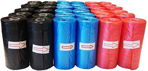 Improhome - Bolsa Caca Perro, Bolsa excremento Perro - 5 Rollos - 20 Bolsas por Rollo - 100 Bolsas en Total - Colores al Azar, Rojo, Azul y Negro