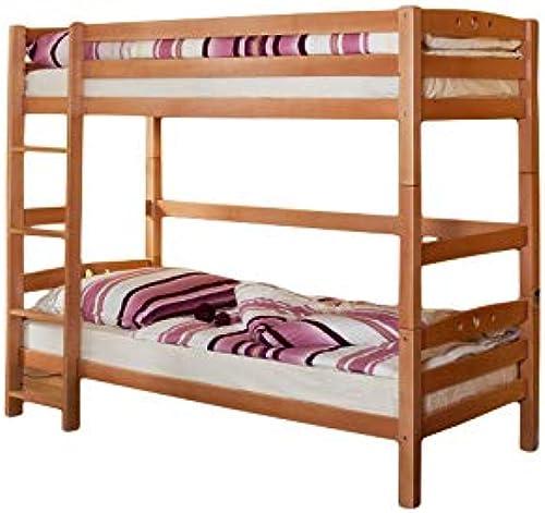 Etagenbett inkl 2 Rollroste Buche massiv natur EN 747-1 + 747-2 teilbar zu 2 Einzelbetten Stockbett Doppelbett Spielbett Kinderzimmer Hochbett