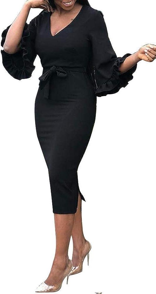 OLUOLIN Women's Sexy V Neck Printing Flounced Long Sleeve Ruffle Belt Long Maxi Bodycon Dress