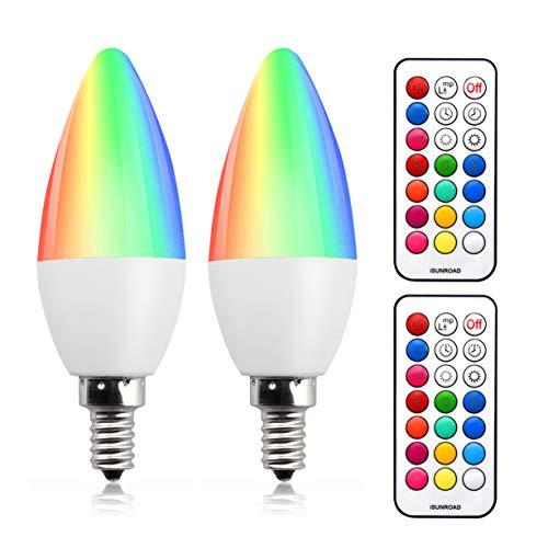 Lampadina a Candela E14 RGB Colori 3W Dimmerabile, Lampadine a LED Colorate C35 E14 LED a Luce Colorata 12 Colori, Telecomando Bianco Freddo, Funzione di Memoria e Cronometraggio per Casa,Festa(2pz)