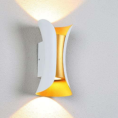 QEGY 2 Pcs LED Aplique de Pared Exterior, Moderna Lampara de Pared Interior con Blanca Cálida 3000K, Up Down Foco de Pared IP65 Impermeable para Jardín Pasillos Proyección de Luz Deco,White 20cm