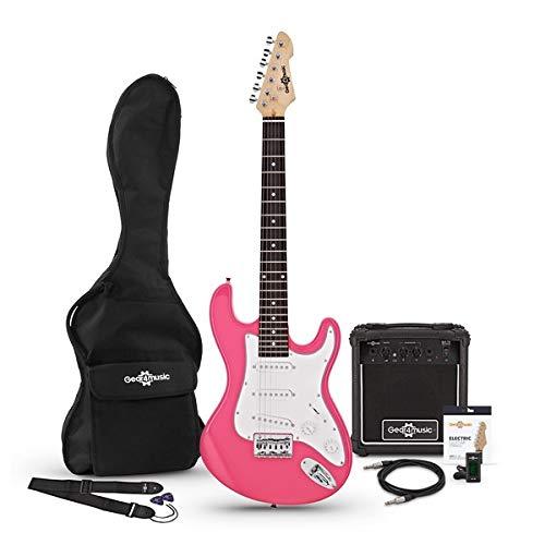 3/4-LA-E-Gitarre Pink mit Verstarker