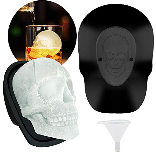 Large Skull Ice Molds 3D Reusable Silicone Ice Cube Mold Trays for Whiskey Cocktails Juice Beverages Bourbon Beer Party Favors Big Chocolate Resin Sugar Skull Mold for Baking, Easy-Release