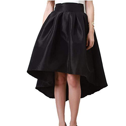 U/A - Falda corta para mujer (plisada, hasta la rodilla), color negro