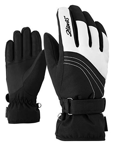 Ziener Damen KONNY AS lady glove Ski-handschuhe / Wintersport | wasserdicht, atmungsaktiv, weiß (white/black), 7.5