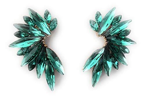 Pendientes cristales coloridos mujer alta bisutería fiesta, chapado plata esmeralda