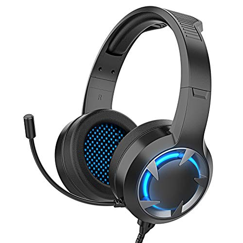 Auriculares Gaming para Xbox One PS4,Cascos Gaming Portátiles y Cancelación de Ruido con Luz LED Colocar,con Micrófono Flexible,Gaming Headset con Conector de 3,5 mm para PC/Nintendo Switch/Mac(Negro)