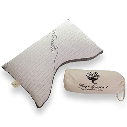 Side Sleeper Pillow for Neck & Shoulders - Made in USA, Adjustable Natural Latex Fill, Promotes Spinal Alignment, Pain Relief, Hypoallergenic, Queen Size, Maintains Neutral Temperature While Sleeping
