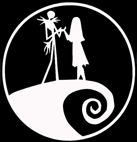 Legacy Innovations Jack and Sally Nightmare Before Christmas White Decal Vinyl Sticker Cars Trucks Vans Walls Laptop  White  5.5 x 5.5 in LLI615
