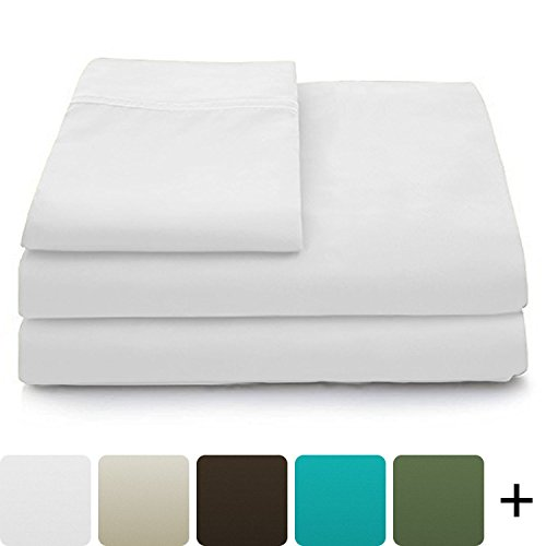 Cosy House Collection Luxury Bamboo Bed Sheet Set - Hypoallergenic Bedding Blend from Natural Bamboo Fiber - Resists Wrinkles - 4 Piece - 1 Fitted Sheet, 1 Flat, 2 Pillowcases - Cal King, White