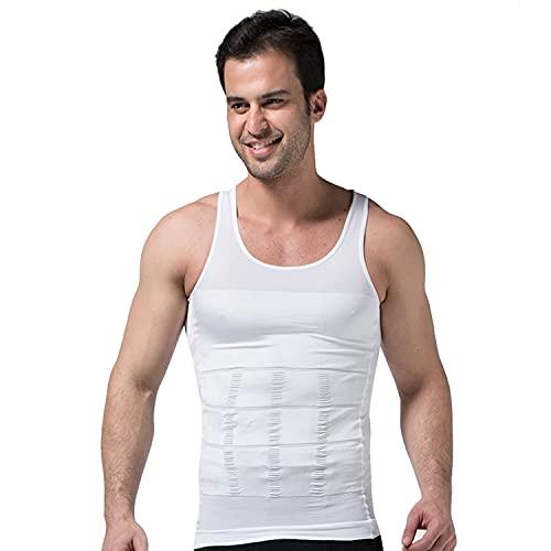 APAELEA Hombre Camiseta Interior de Tirantes Elástico Fimnasios Chaleco,Blanco,XL