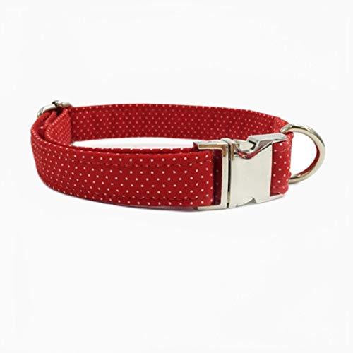 FANJIA Collar De Perro Collar De Perro Y Gato Y Correa De Perro con Pajarita Personal Personalizado Producto De Diseñador De Cachorro De Mascota Collar De Perro Y Gato XS-XL Red Dot