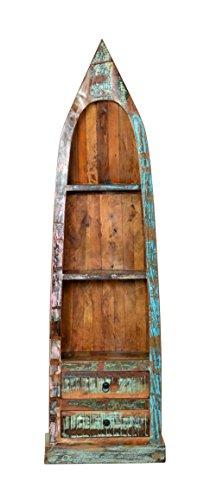 Sit Möbel Riverboat 9199-98 Regal, 3 Regalfächer, 2 Schubladen, recyceltes Altholz, bunt lackiert, 55 x 35 x 190 cm