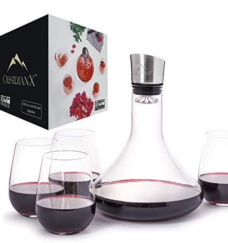 ObsidianX Wine Decanter Set - Hand Blown Crystal Clear, 100% Lead-Free Red Wine Carafe + Stainless Steel Aerator + 4 Stemless Wine Glasses