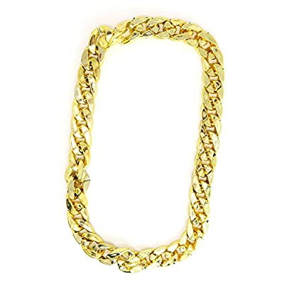Skeleteen Rapper Gold Chain Accessory - 90s Hip Hop Fake Gold Costume Necklace - 1 Piece