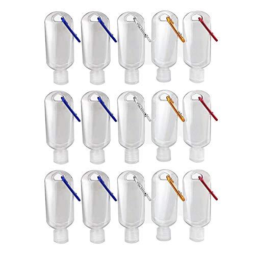 PENGXING 15Pcs 50ml Botella Recargable Vacía Botellas de Almacenamiento con Llavero, Recipiente Cosmético Portátil de Plástico Transparente de Viaje (15pcs)