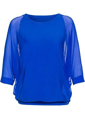 Dames veelzijdigheidsshirt tuniekblouse in baden kwaliteit koningsblauw dubbele lagig chiffon stretch 38 40 42 44 46 48 50 52 54 nummer 71974.