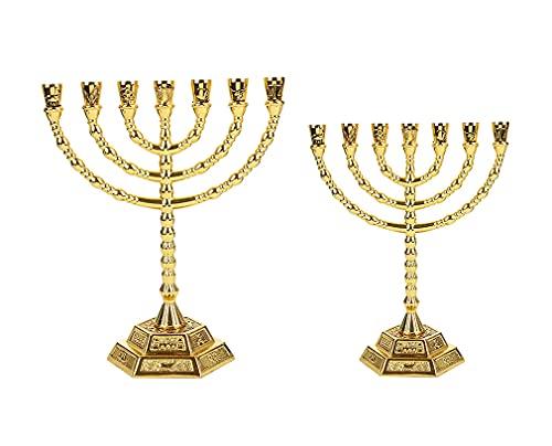 Shalom Israël Menora, voor Kerstmis, Home party klassieke ornamenten, religieuze ambachtsman cadeau, Hebreeuwse kandelaar Menorah, 2 stuks