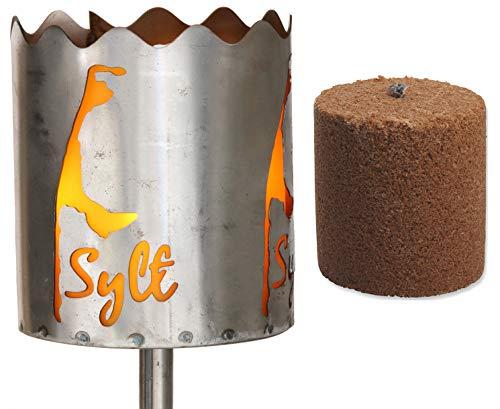 Novaliv Gartenfackel Feuerschale Metall mit Stiel 1xBrennmittel Gartenleuchte Fackel
