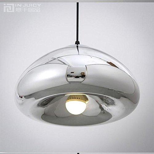Injuicy vintage industriel d'éclairage en cuivre Laiton Bol en verre miroir Suspension abat-jour rétro LED Edison Lampes de Plafond pour chambre à coucher de cuisine Salon - Dia.300mm Silver