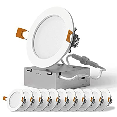 SunLake Lighting 12 Pack 4 Inch Ultra Thin LED Downlight, 10W=65W, 650 LM, Dimmable, 4000K Cool White, Junction Box Included, Recessed Retrofit Ceiling Fixture - ETL and Energy Star Certified