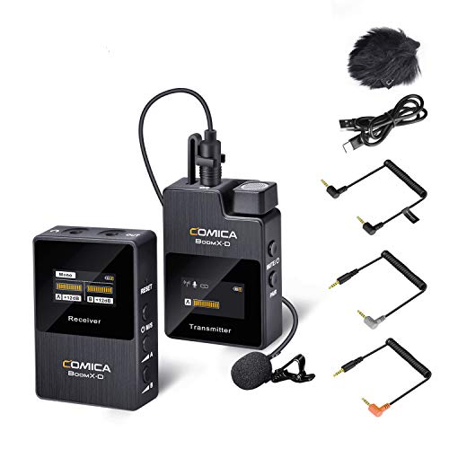 Wireless Lavalier Microphone,Comica BoomX-D1 2.4G Wireless Lapel Microphone System with 1 Transmitter and 1 Receiver,Lav Mic for Camera Smartphone Podcast Interview YouTube Vlogging Facebook Live