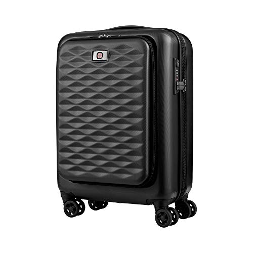 Wenger 604345 Lumen Expandable Hardside 20 Inch Luggage Suitcase, Strong Polycarbonate Shell with 2 Inch Expansion Pockets, Black (36 Litres)