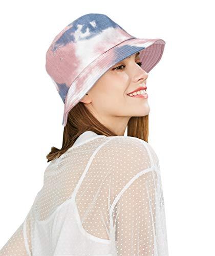 DOCILA Cute Tie Dye Bucket Hats for Teen Girls Pink Gift Hat for Young Ladies Outdoor Sun Caps (Pink)