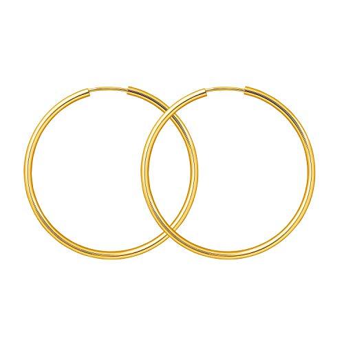Creolen Echt Gold 40 mm 333 aus Gelbgold, Damen Ohrringe Gold mit Stempel, Breite 2 mm, Gewicht ca. 1,4 g, Made in Germany