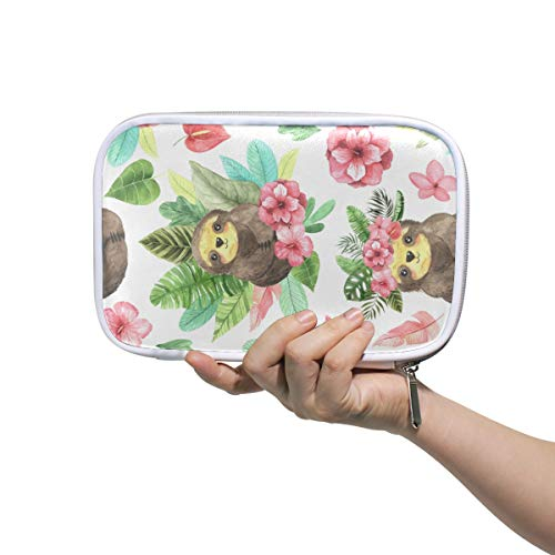 Bardic Pen Pencil Case Watercolor Flower Leaf Sloth Makeup Brush Bag Travel Organizer Cosmetic Pouch Passport Holder for Men Women