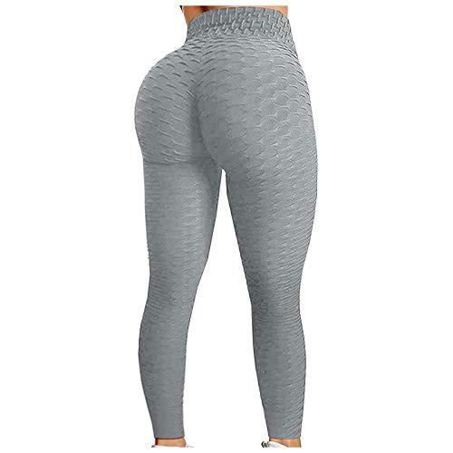 Tiktok - Leggings para mujer, pantalones de yoga y entrenamiento, mejorados, cintura alta, control de abdomen, anticelulitis, Gris, L