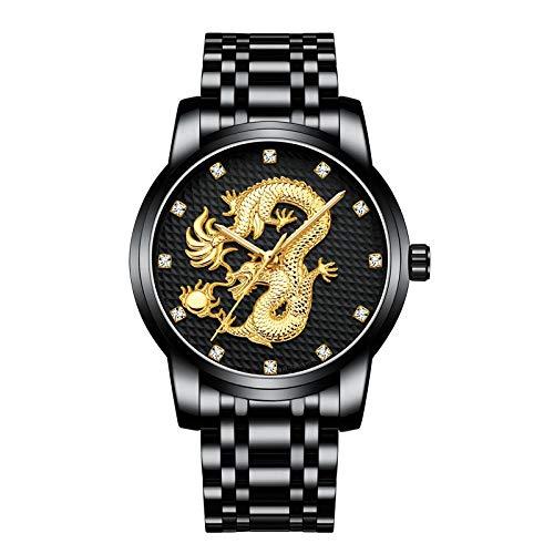 CXJC Reloj deportivo for hombres con correa de acero inoxidable + espejo de cristal templado mineral, reloj mecánico impermeable multifuncional, reloj de moda de patrón de dragón chino 3D