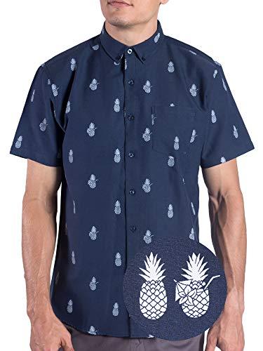 Visive Oxford Pineapple Hawaiian Shirts for Mens Short Sleeve Button Up/Down Shirt - Navy - XL