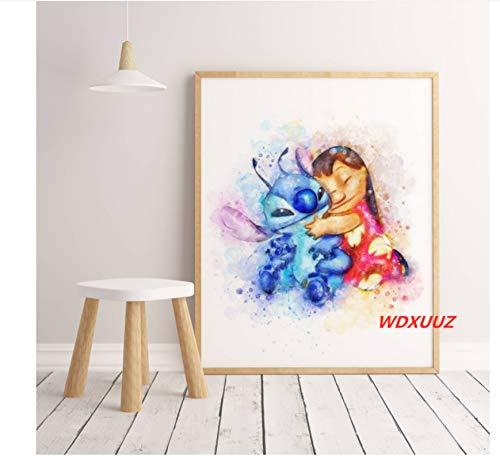 Mengyun Store American Anime Baby Star Lilo & Stitch Póster De Arte De La Pared Decoración del Hogar Imagen Impresa Pintura De La Lona Etiqueta De La Pared Mural Sin Marco Hk3028 (50X70Cm)