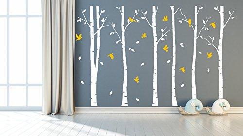 Sayala Wandtattoo XXL Birkenstämme Vögel I weiß (BxH) 240x 230 cm I Birke Flur Wohnzimmer Sticker Aufkleber Wandsticker Wandaufkleber Bäume