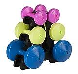 York Fitness mehrfarbige 15kg Hantel Gewicht Set und Ständer