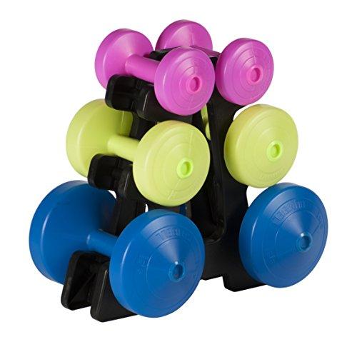 York Fitness Juego de pesas 15 kilos y soporte