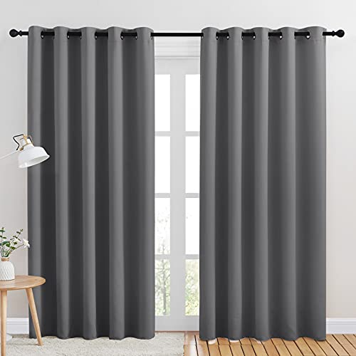 NICETOWN Bedroom Curtains Blackout Drapery Panels, Three Pass Microfiber Thermal Insulated Solid Ring Top Blackout Window Curtains / Drapes (Two Panels, 70 x 84 inches, Gray)