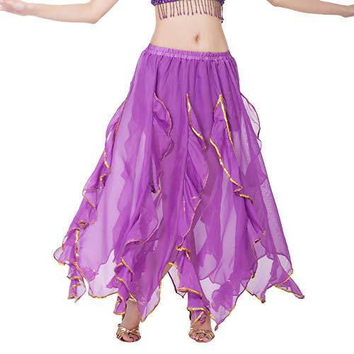 Chiffon Bauchtanz Rock Orientalische Kostüme Damen Chiffon Schlitz Maxirock Doppelt Schicht Rüschen Big Swing Langer Rock Tanzkostüm Performance Kostüm Chiffonrock Lila