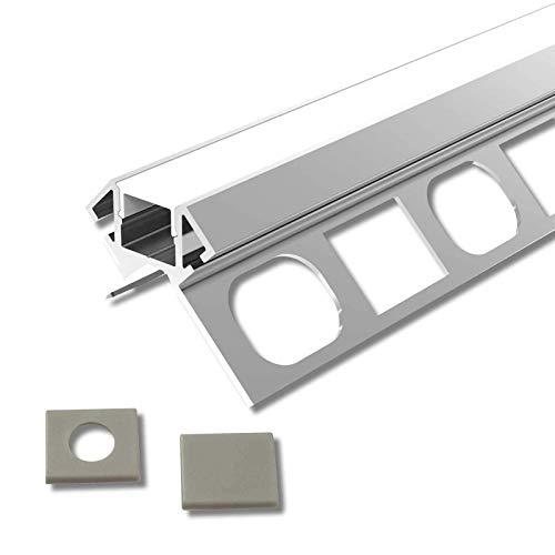 ARES (AR) Fliesen Eck Aluminium 3 x 2m eloxiert | Fliesen-Außeneckleiste für Led Streifen bis 1cm Breite | U-Profil Fliesenschiene + Acryl Abdeckung milchig weiß (opal) + Endkappen