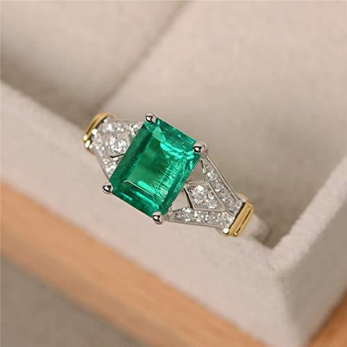 Tripmark Vintage Ring Women Deep Green Gemstone 14k White Gold Filled Wedding Bridal Band Ring (7)
