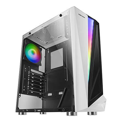 Mars Gaming MCLW, caja PC, cristal templado, ventilador 12cm, 46 efectos, blanco