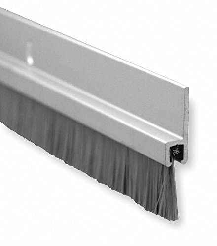 "Door Bottom Sweep Clear Anodized Aluminum With 1/"" Gray Nylon Brush Insert,"