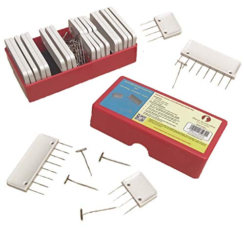 Red Suricata Knit Blocking Combs – Set of 25 Combs for Blocking Knitting, Crochet, Lace or Needlework Projects – Extra 100 T-pins – in Compact Plastic Box – for use with Blocking Mats for Knitting