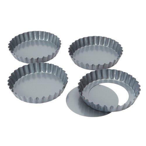 Bakers Pride Lot de 4 Mini-moules à Quiche/tartelette à Fond Amovible antiadhésifs 12 cm
